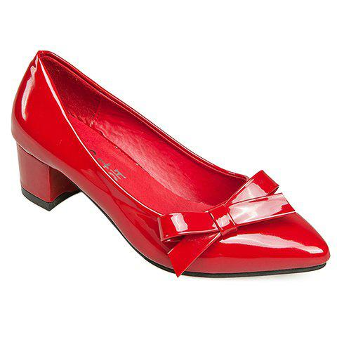 Graceful Solid Colour and Pointed Toe Design Pumps For Women - RED 38