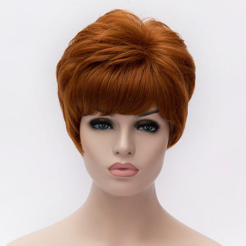 Towheaded Natural Wavy Light Brown Full Bang Stunning Short Capless Heat Resistant Fiber Women's Wig -  LIGHT BROWN