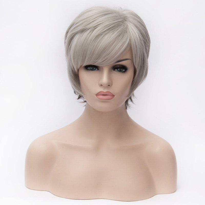 Stylish Silvery White Ombre Side Bang Short Capless Straight Heat Resistant Fiber Women's Wig
