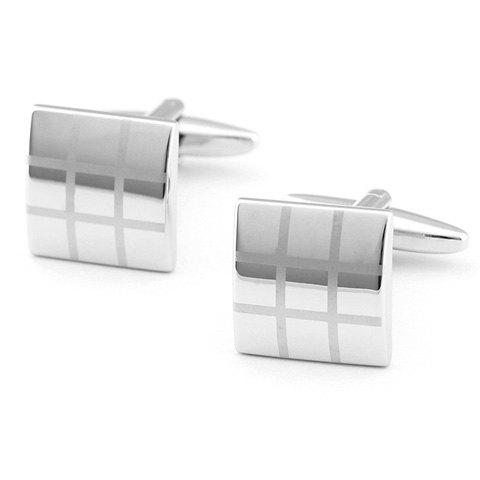 Pair of Stylish Gingham Pattern Men's Quadrate Cufflinks - SILVER