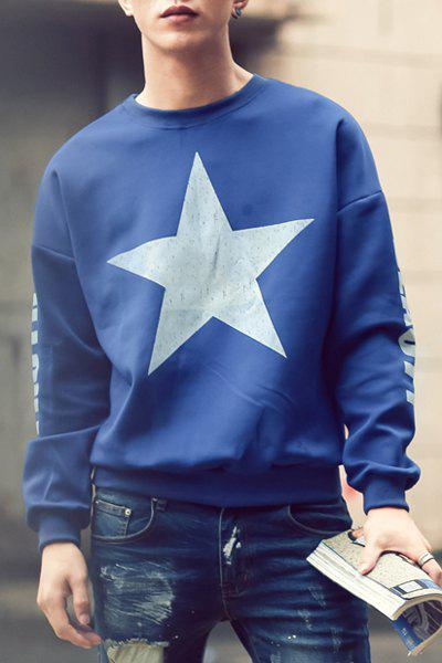 Loose Fit Trendy Round Neck Five-Point Star Pattern Long Sleeve Polyester Men's Sweatshirt - BLUE XL