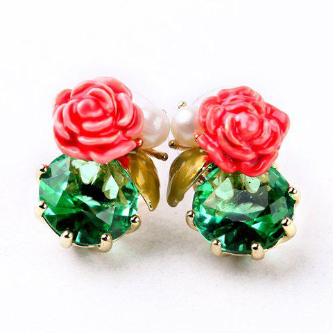 Pair of Trendy Faux Crystal Flower Earrings For Women - COLORMIX