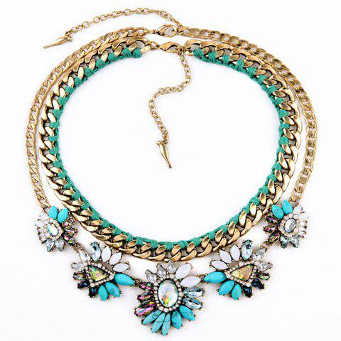 Vintage Turquoise Rhinestone Flower Layered Necklace For Women