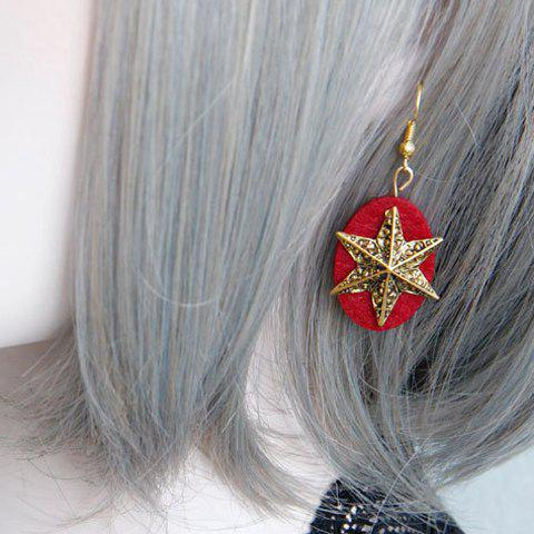 Pair of Stylish Oval Star Earrings For Women - RED