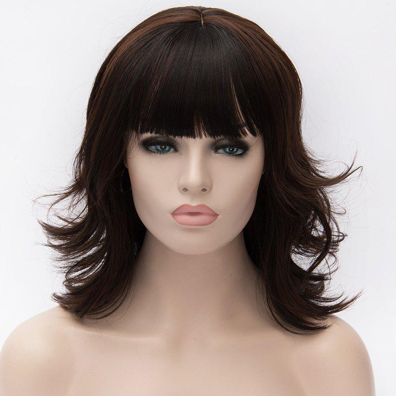Vogue Heat Resistant Fiber Shaggy Wavy Black Mixed Brown Capless Full Bang Medium Wig For Women - COLORMIX