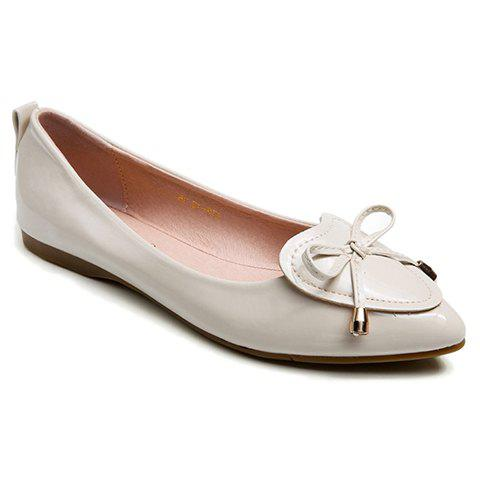 Elegant Pointed Toe and Bow Design Patent Leather Flat Shoes For Women