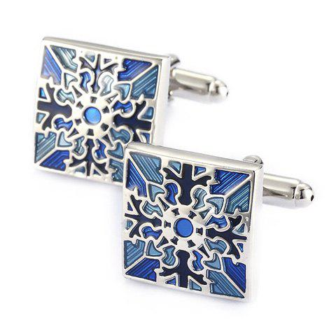Pair of Stylish Retro Engraving Embellished Men's Quadrate Cufflinks - SILVER/BLUE