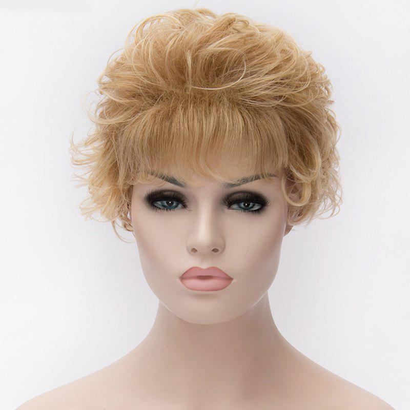 Stunning Towheaded Curly Light Blonde Heat Resistant Fiber Full Bang Short Capless Women's Wig - LIGHT BLONDE