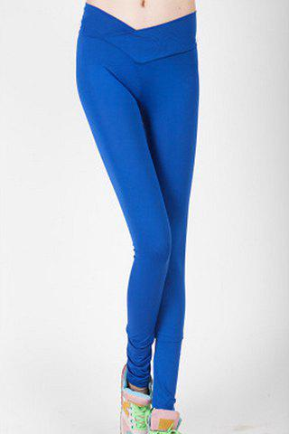 Stylish High-Waisted Solid Color Slimming Women's Leggings - SAPPHIRE BLUE L