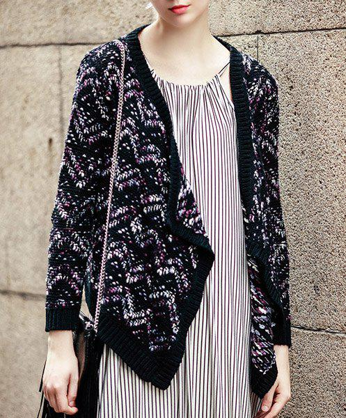 Trendy Multicolored Long Sleeve Asymmetric Knitted Cardigan For Women - BLACK S