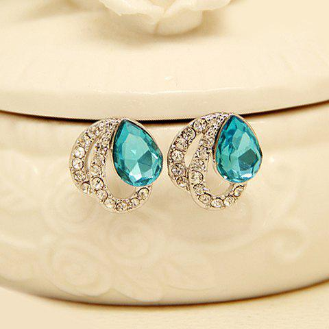 Pair of Chic Rhinestone Hollow Out Waterdrop Earrings For Women - WHITE GOLDEN