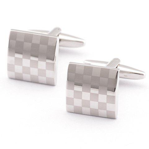 Pair of Stylish Laser Checked Pattern Quadrate Cufflinks For Men - SILVER