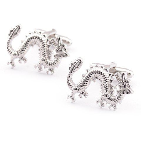 Pair of Stylish Simple Solid Color Dragon Shape Men's Cufflinks - SILVER