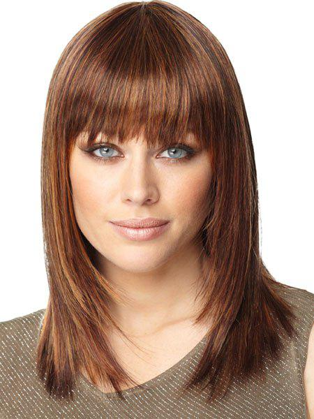 Graceful Brown Mixed Full Bang Heat-Resistant Synthetic Medium Silky Straight Capless Women's Wig - COLORMIX