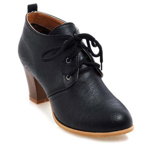 Retro Chunky Heel and Solid Colour Design Women's Pumps - BLACK 42
