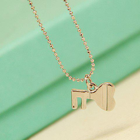 Delicate Solid Color Key Pendant Necklace For Women - WHITE GOLDEN