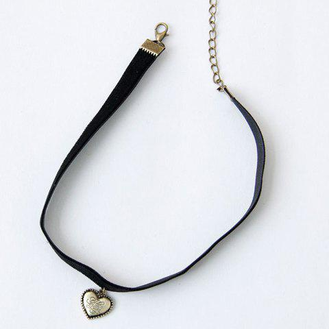Vintage Retro Style Heart Shape Pendant Choker Necklace For Women -  BLACK