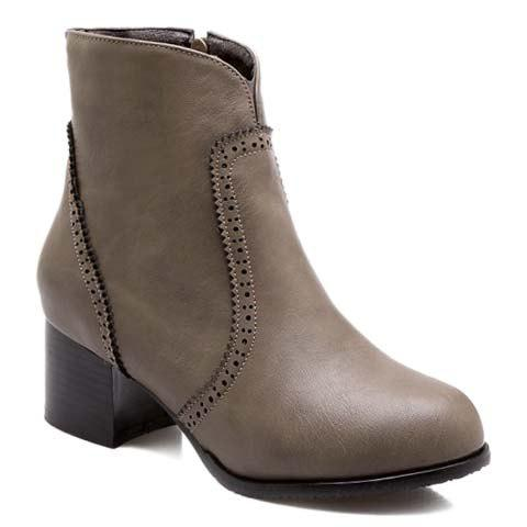 Vintage Engraving and Chunky Heel Design Short Boots For Women - BROWN 36