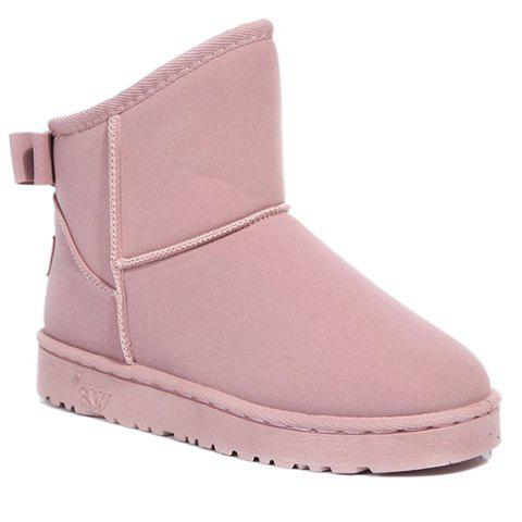 Stylish Solid Colour and Bow Design Snow Boots For Women