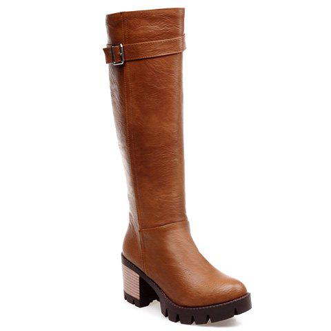 Leisure PU Leather and Zipper Design Boots For Women - YELLOW 35