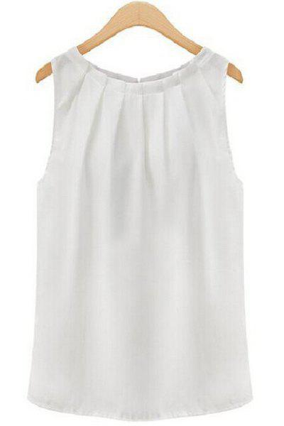 Stylish Round Collar Sleeveless Pure Color Women's Tank Top