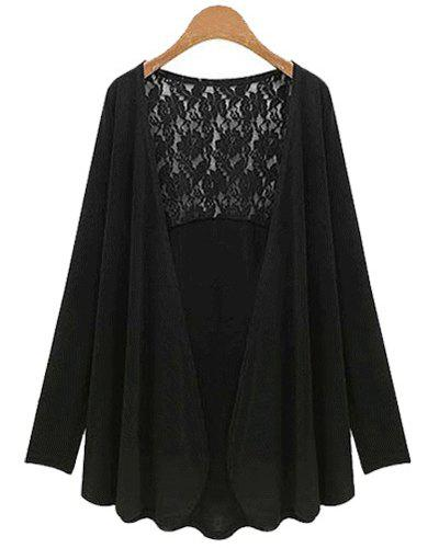 Stylish Long Sleeve Plus Size Lace Spliced Women's Cardigan