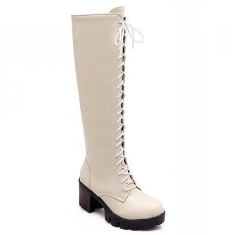 Retro Lace-Up and Solid Colour Design Knee-High Boots For Women - OFF WHITE 39