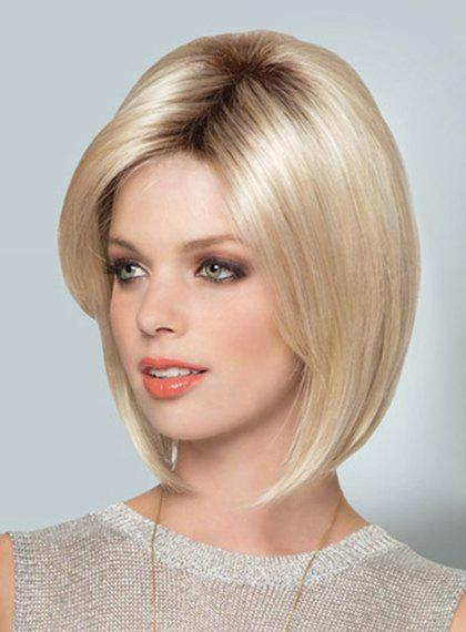 Fashion Middle Part Heat Resistant Fiber Short Straight Black Mixed Blonde Capless Women's Wig free shipping 1pc kinky straight short wigs synthetic for african american black women heat resistant ombre u part auburn wig