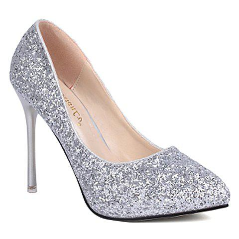 Graceful Sexy High Heel and Sequined Design Pumps For Women - SILVER 38