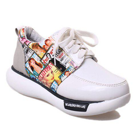 trendy print and lace up design athletic shoes for
