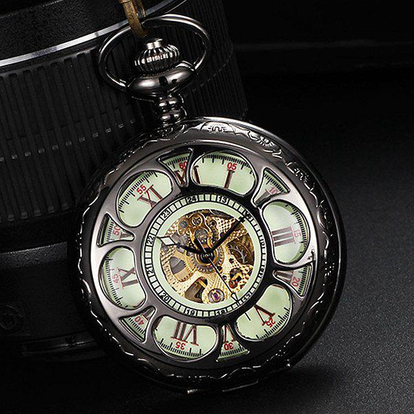 Automatic Mechanical Pocket Chain Watch with Luminous Dial Hollow Out Design - BLACK