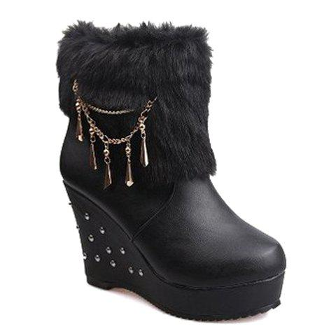 Stylish Faux Fur and Rivets Design Ankle Boots For Women - BLACK 36