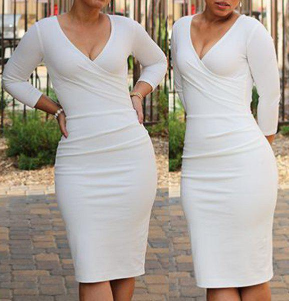 Sexy Plunging Neck 3/4 Sleeve Bodycon Solid Color Women's Midi Dress - WHITE S