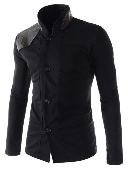 Slimming Stylish Stand Collar Color Block PU Leather Splicing Long Sleeve Polyester Men's Blazer - BLACK 2XL