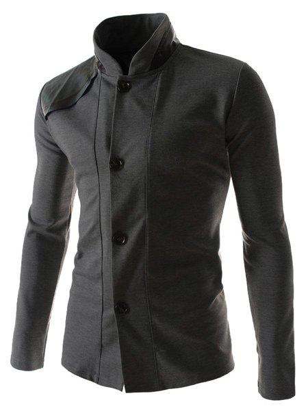 Slimming Stylish Stand Collar Color Block PU Leather Splicing Long Sleeve Polyester Men's Blazer - DEEP GRAY M