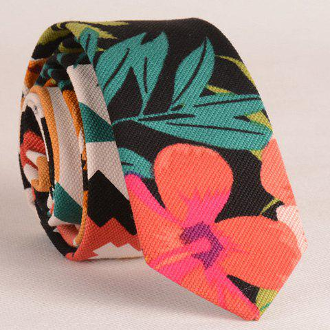 Stylish Flower and Leaf Print Men's Tie - BLACK