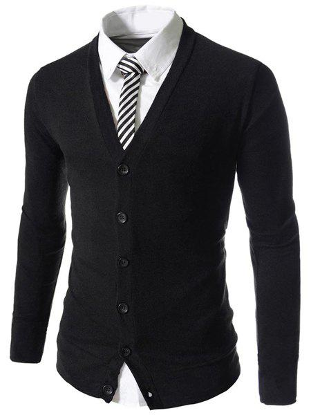 Slimming Stylish V-Neck Single Breasted Solid Color Long Sleeve Polyester Men's Cardigan - BLACK M
