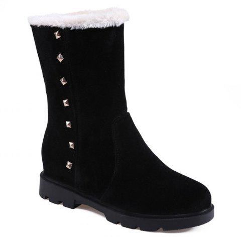 Concise Suede and Rivets Design Mid-Calf Boots For Women - BLACK 39