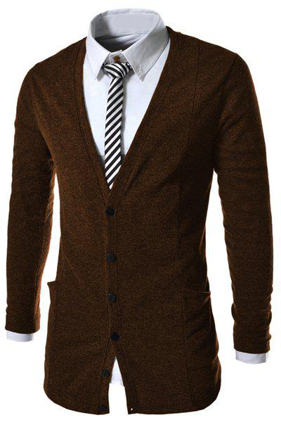 Slimming Trendy V-Neck Pocket Design Single Breasted Long Sleeve Polyester Men's Cardigan - COFFEE XL