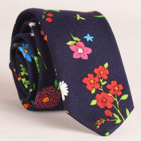 Stylish Tiny Flowers Print Men's Tie - CADETBLUE