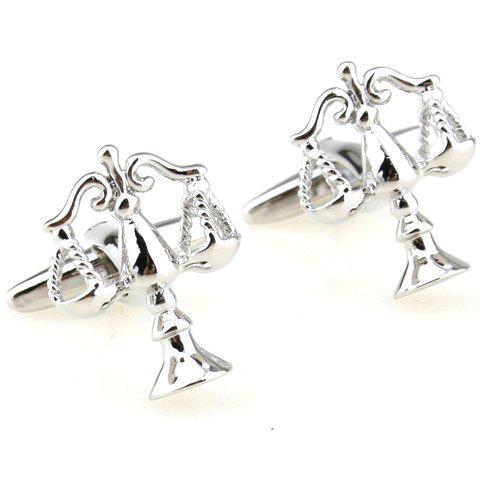 Pair of Stylish Solid Color Weighing Scale Shape Cufflinks For Men - SILVER