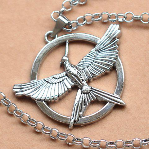 Stylish The Hunger Games Mockingbird Logo Necklace - SILVER
