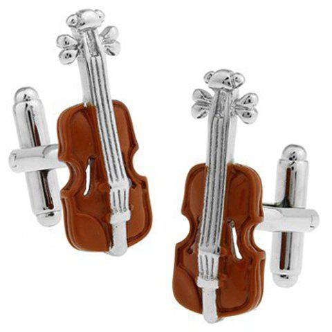 Pair of Stylish Violin Shape Embellished Cufflinks For Men - COLORMIX