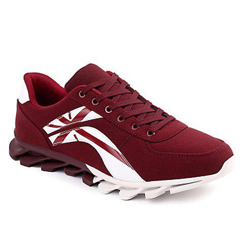 Fashionable Cross and Color Block Design Athletic Shoes For Men - WINE RED 43
