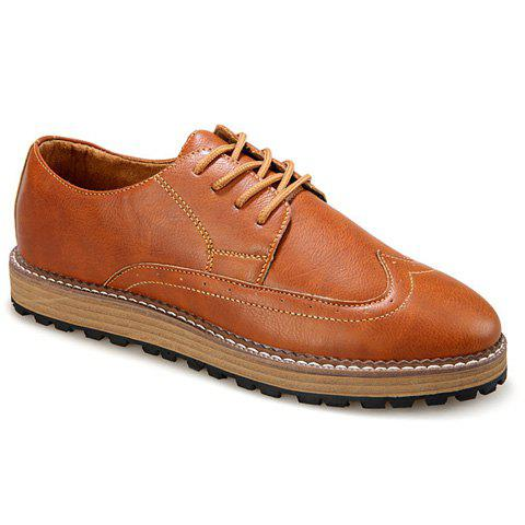 Stylish Round Toe and PU Leather Design Formal Shoes For Men - BROWN 39