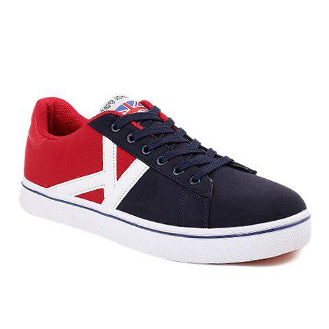 Trendy Lace-Up and Colour Block Design Casual Shoes For Men - BLUE 44