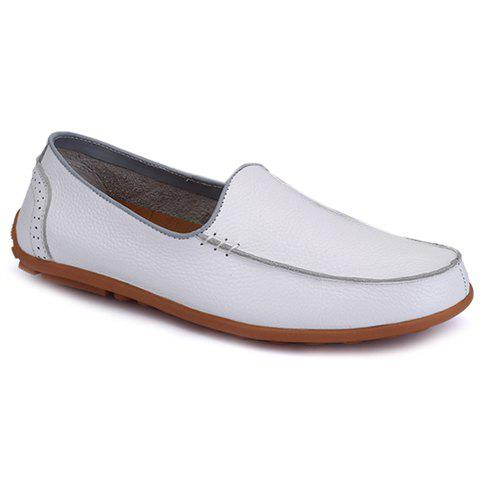 Stylish Engraving and Solid Color Design Loafers For Men - 39 WHITE