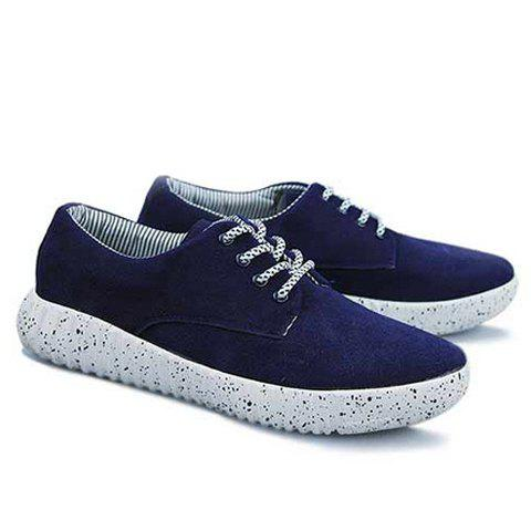 Laconic Color Matching and Lace-Up Design Casual Shoes For Men - BLUE 39