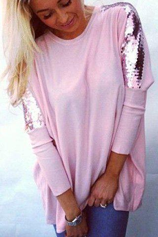 Refreshing Glitter Sequin Spliced Solid Color Blouse For Women - PINK M