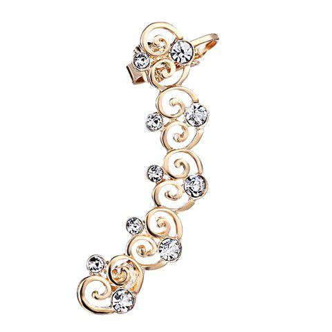 ONE PIECE Hollow Out Heart Rhinestone Ear Cuff - GOLDEN